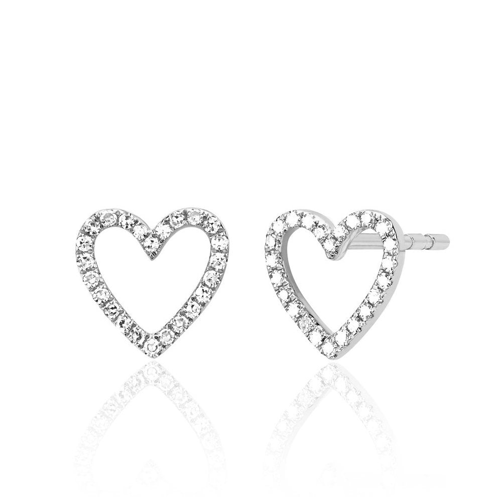 Pave Open Heart Studs