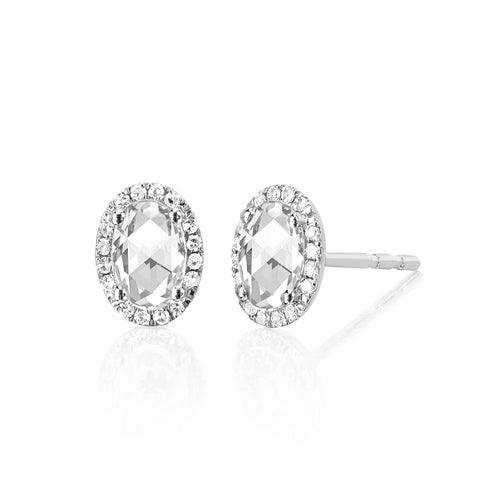 Diamond & White Topaz Oval Stud Earring