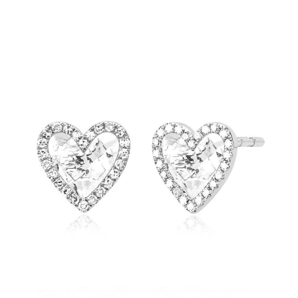 Diamond White Topaz Heart Stud Earring