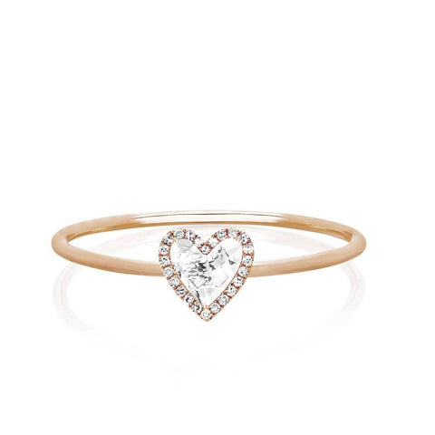 Diamond White Topaz Heart Stack Ring