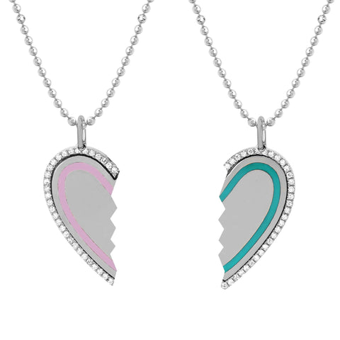 Diamond and Enamel Heart Friendship Necklace