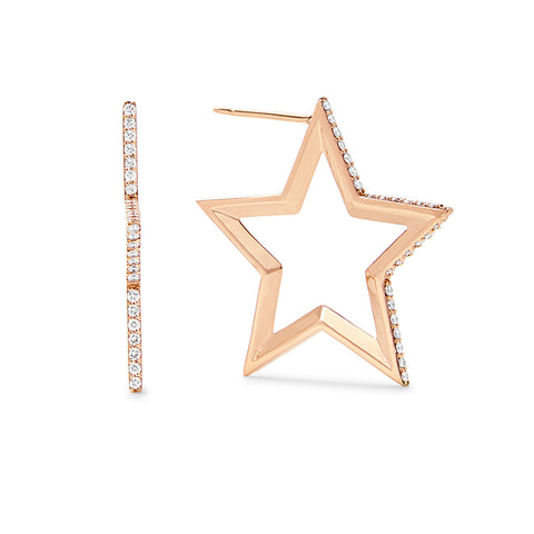 Gold and Diamond Star Earrings