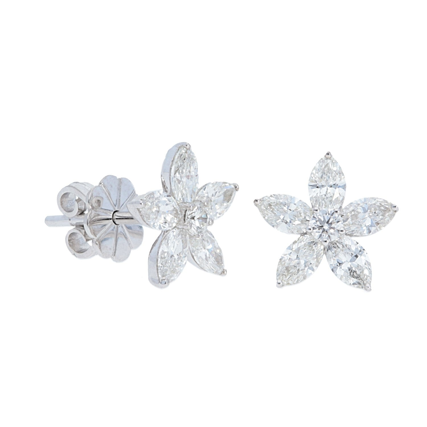 Marquise Diamond Flower Earrings