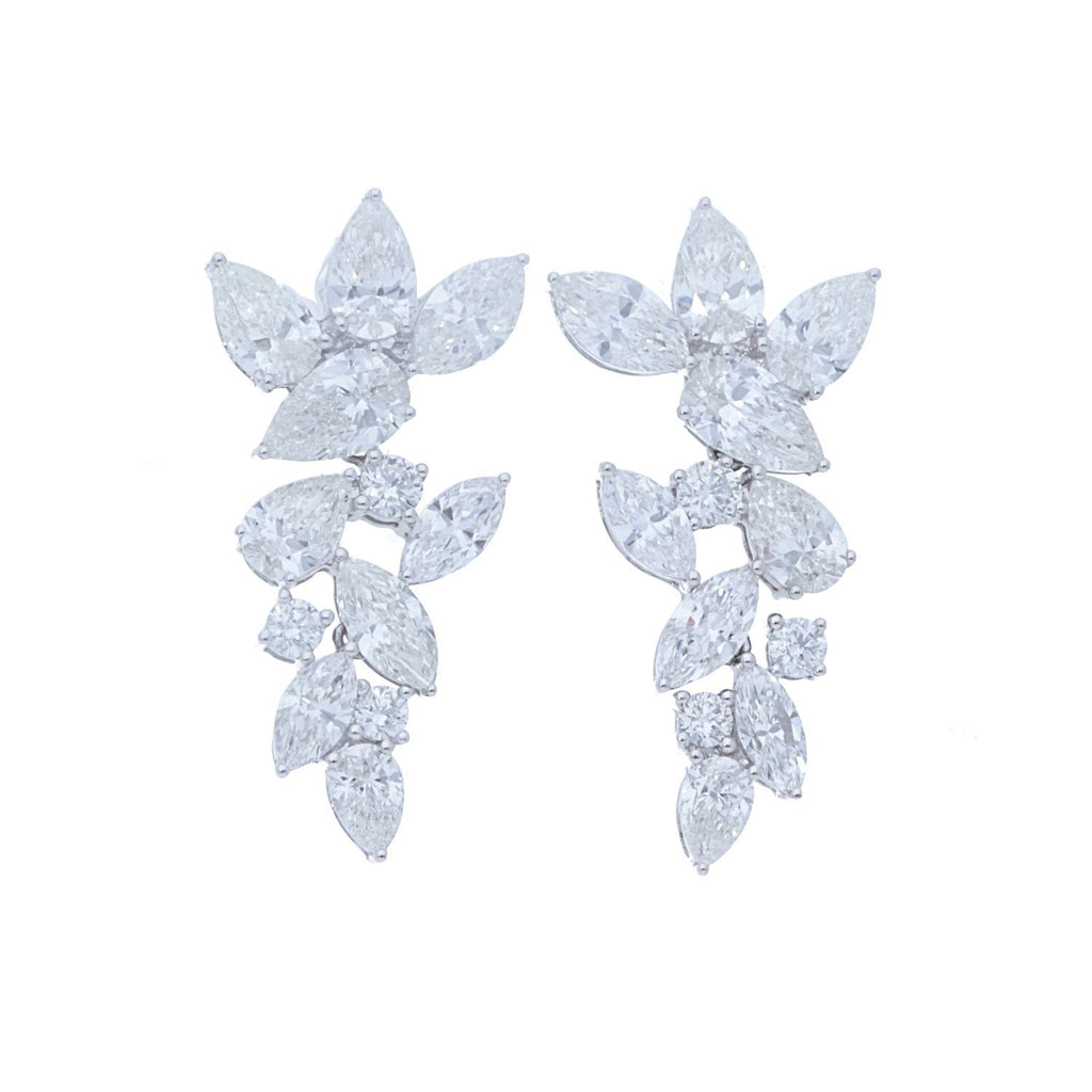 Marquise and Pear Shape Cluster Drop Earrings