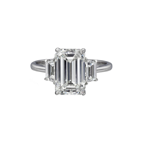 3.72 Carat Emerald Cut Engagement Ring with Trapezoids