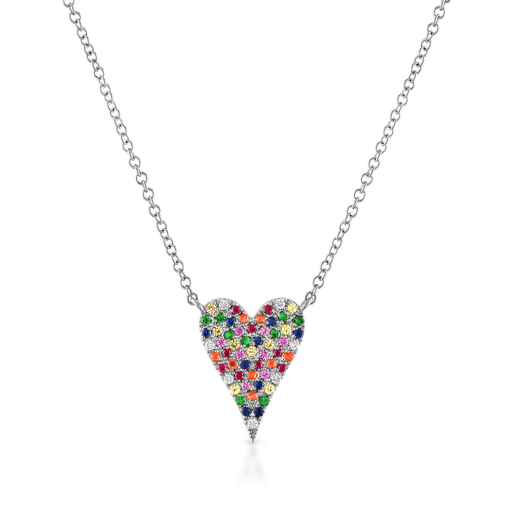 Small Pave Rainbow Heart Necklace