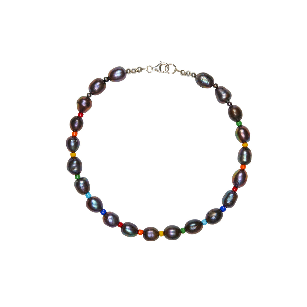 Black Baroque Pearl Collar Necklace