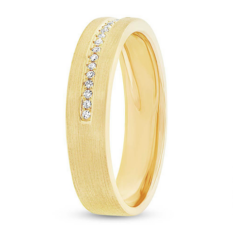 Gold Band with Pave Line
