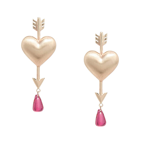 Gold Through the Heart Earrings