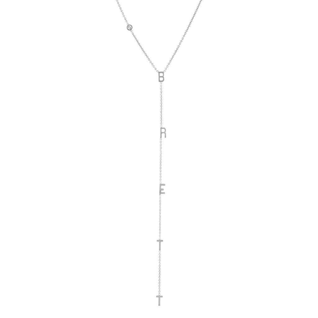 Mini Initial Lariat with Off-Center Bezel