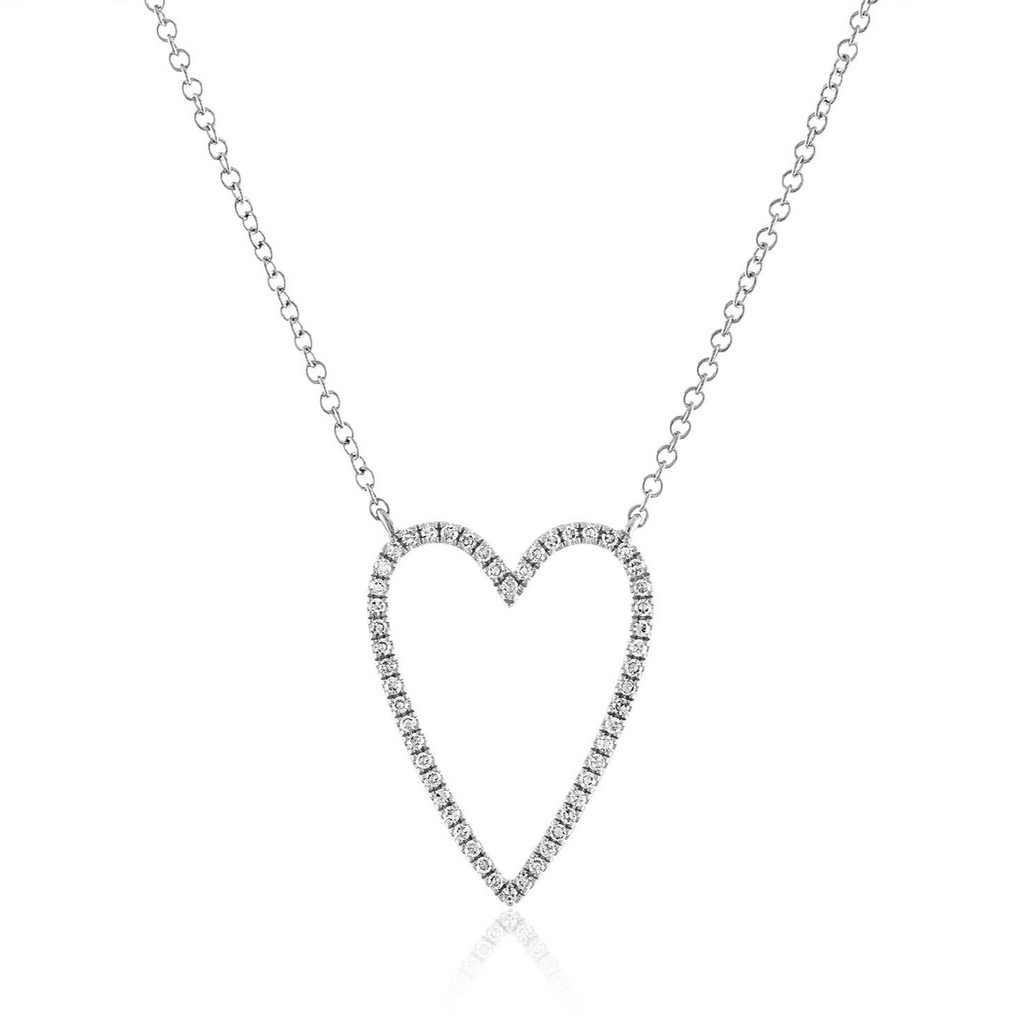 Pave Heart Shaped Outline Necklace