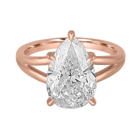 Gold Split Shank Engagement Ring with Pear Shape Center