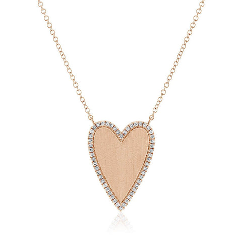 Gold Heart Necklace with Pave Outline