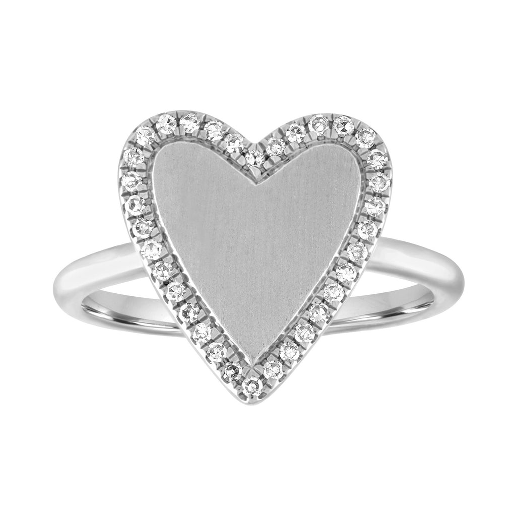Gold Heart with Pave Outline Ring