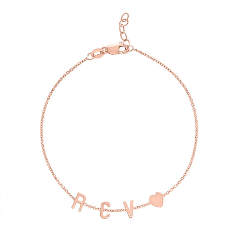 Mini Initial Bracelet with Heart