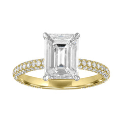 Emerald Cut Engagement Ring with Multi Row Pave Band