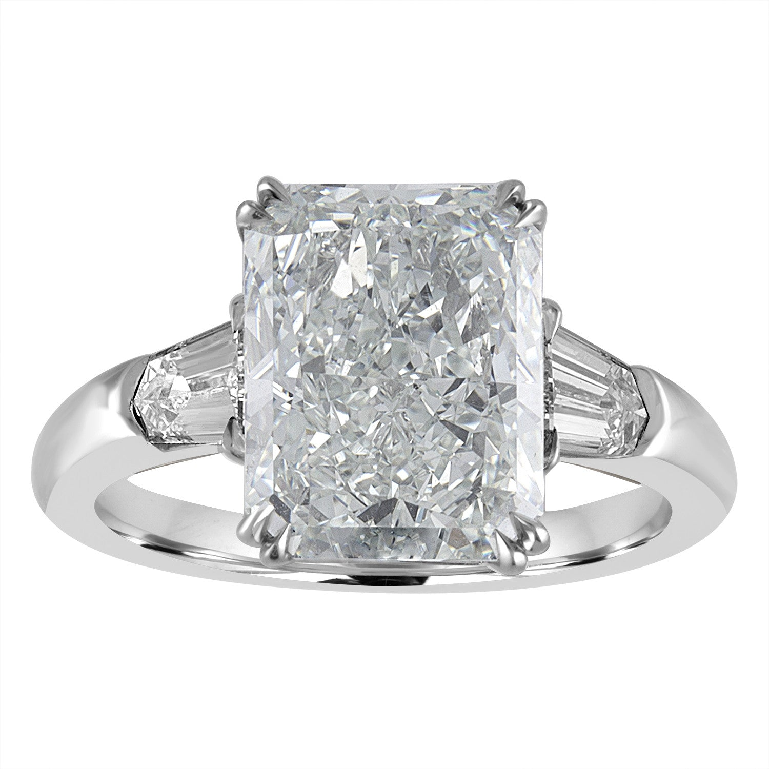 star trillion white ring and gold tw radiant diamond cut in