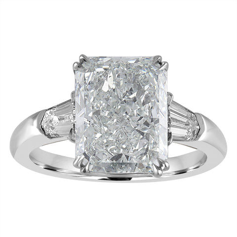 Radiant Engagement Ring with Bullet Side Stones