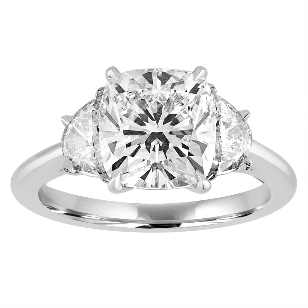 Cushion Cut Engagement Ring with Half Moon Side Stones