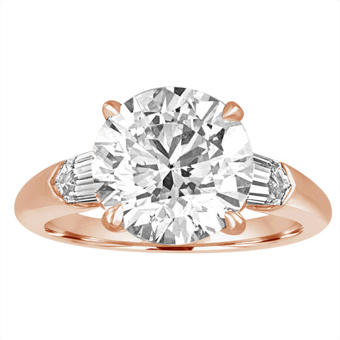 Round Brilliant Engagement Ring with Bullets