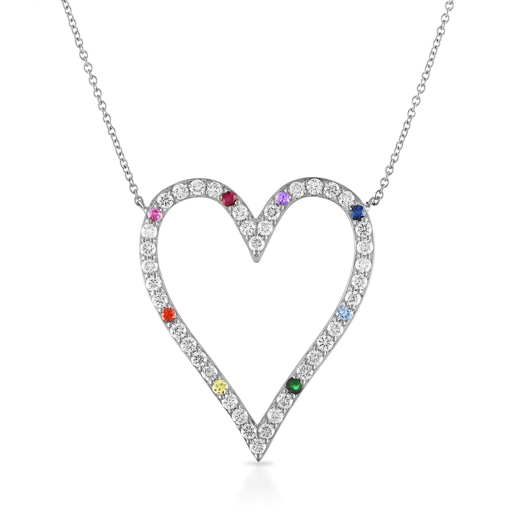 Diamond Heart Necklace with Scattered Rainbow Gemstones
