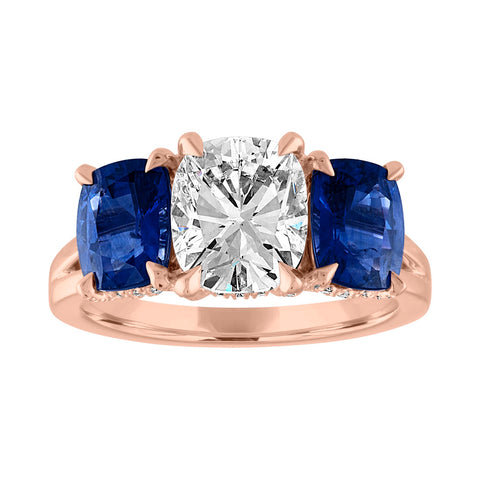 Cushion Cut Engagement Ring with Blue Sapphire Side Stones