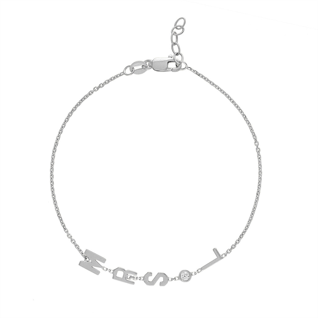 Mini Initial Mrs. Bracelet with Diamond Bezel