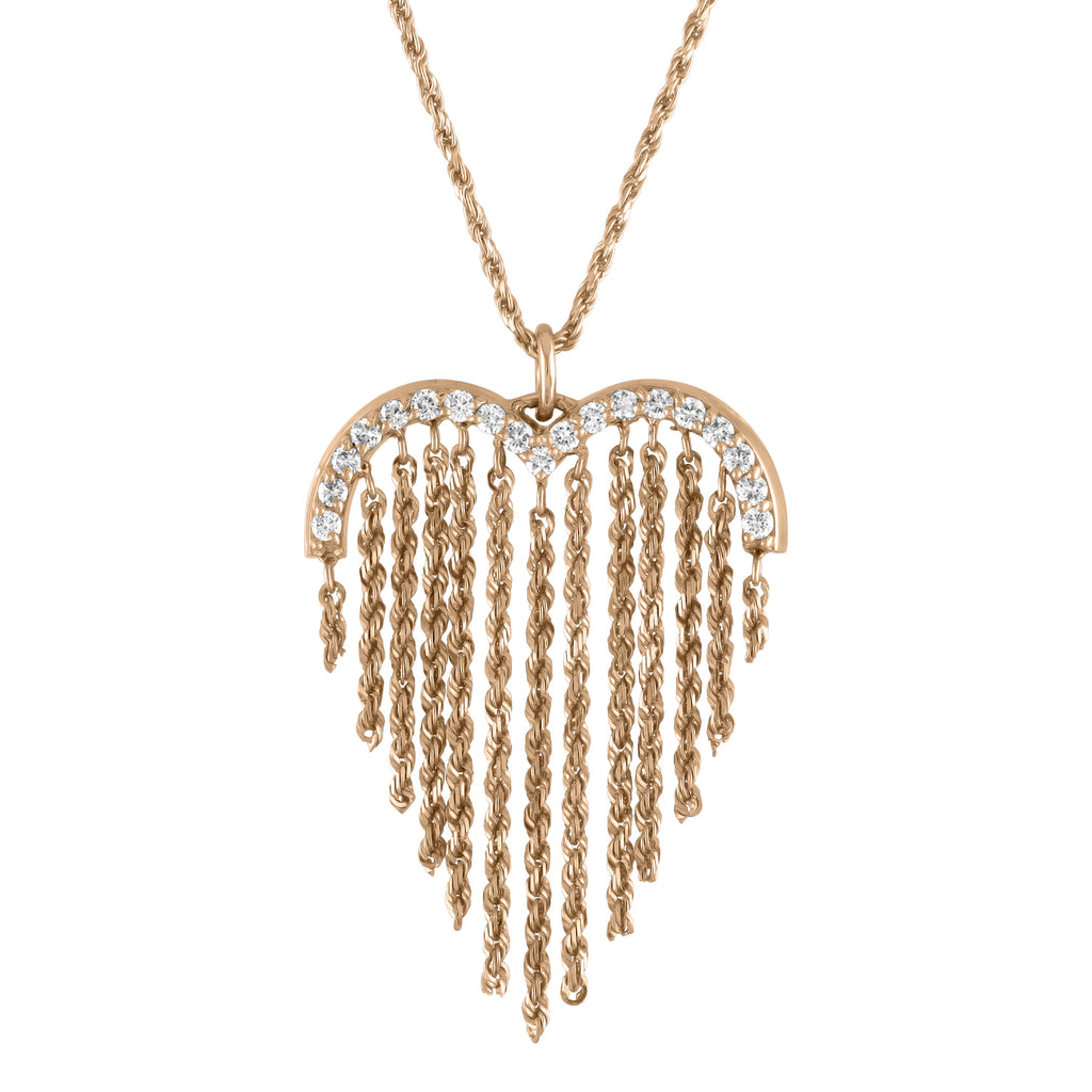 IN STOCK - Heart Fringe Necklace Rose Gold