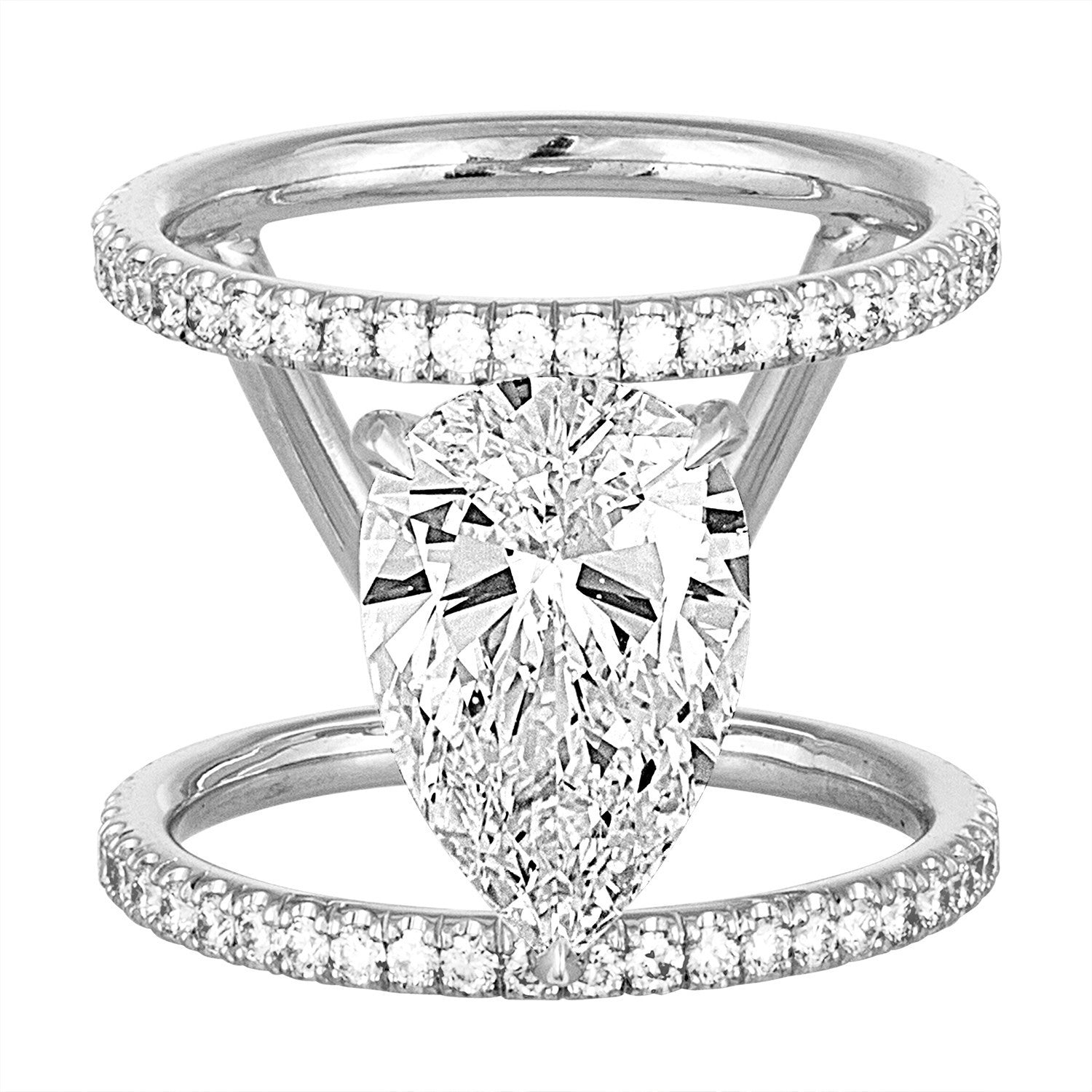 with diamond prong engagement a band four rings ring
