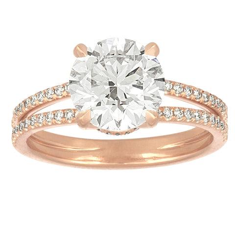 Pave Split Shank Engagement Ring