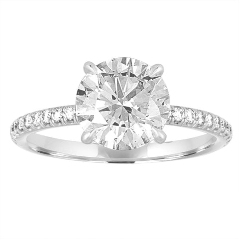 Round Brilliant Engagement Ring with Pave Band