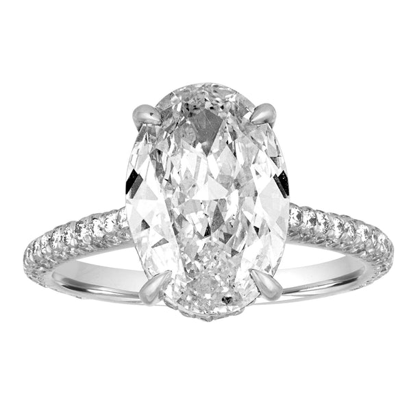 Oval Diamond with Three-Sided Pave Engagement Ring