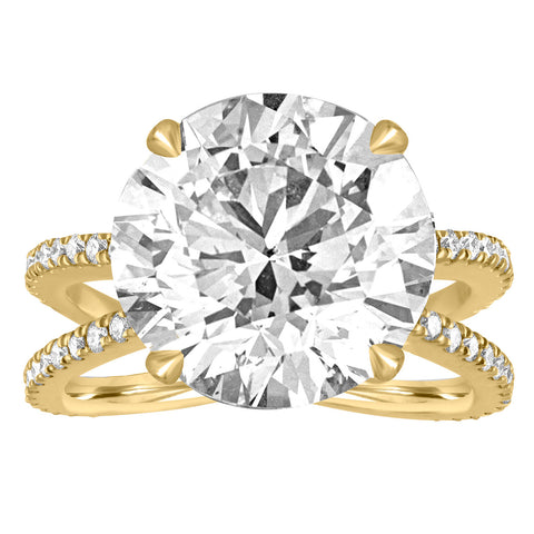 Reverse Pave Split Shank Engagement Ring