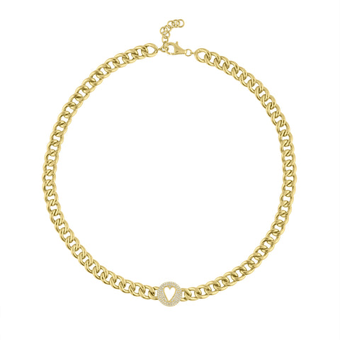 Cuban Link Choker with Pave Heart