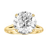 Gold Split Shank Engagement Ring with Sunken Flower Detail