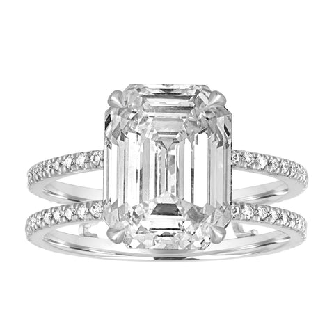 Double Pave Band Engagement Ring