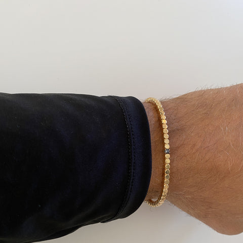 SAMPLE SALE: Rose Gold Dado Bracelet with Single Black Diamond