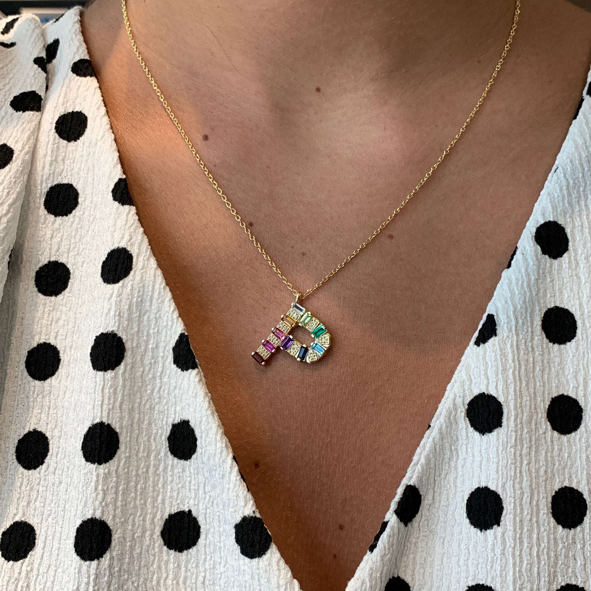 "In Stock - Mini Gemstone Initial Necklace - YG Rainbow Letter ""P"""