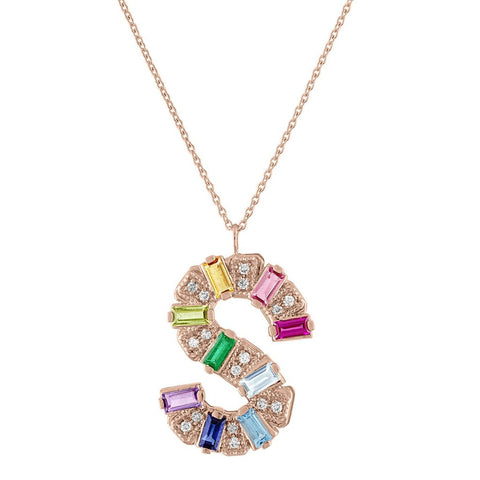 Mini Gemstone Initial Necklace - Copy