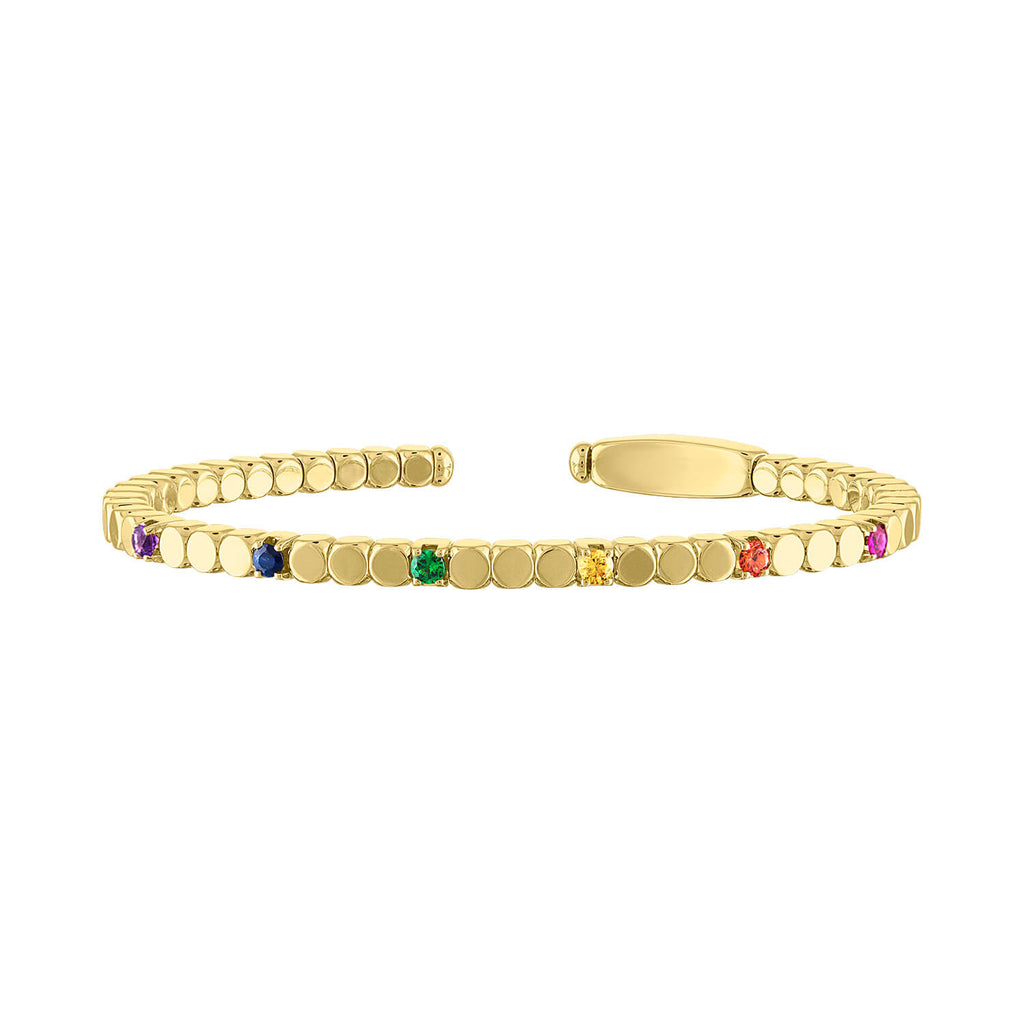 Gold Dado Bracelet with Rainbow Colored Stones