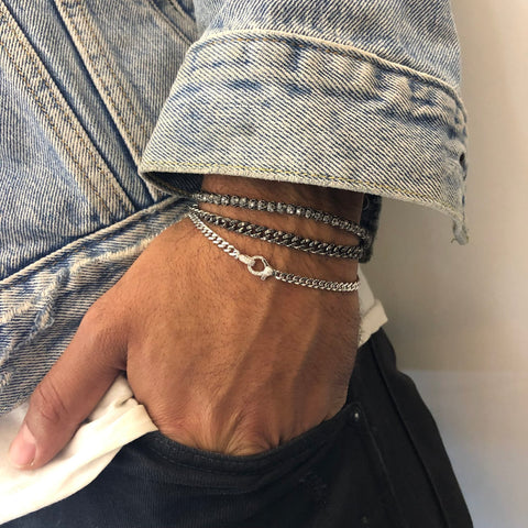 Men's Diamond Flat Link Bracelet
