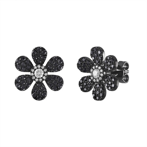 Black Diamond Large Pave Flower Stud