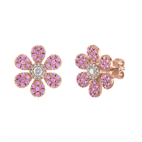 Pink Sapphire Large Pave Flower Stud