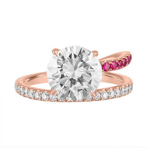 Band and a Half Engagement Ring with Round Diamond