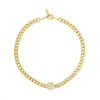Cuban Link Choker with Pave Initial Disc