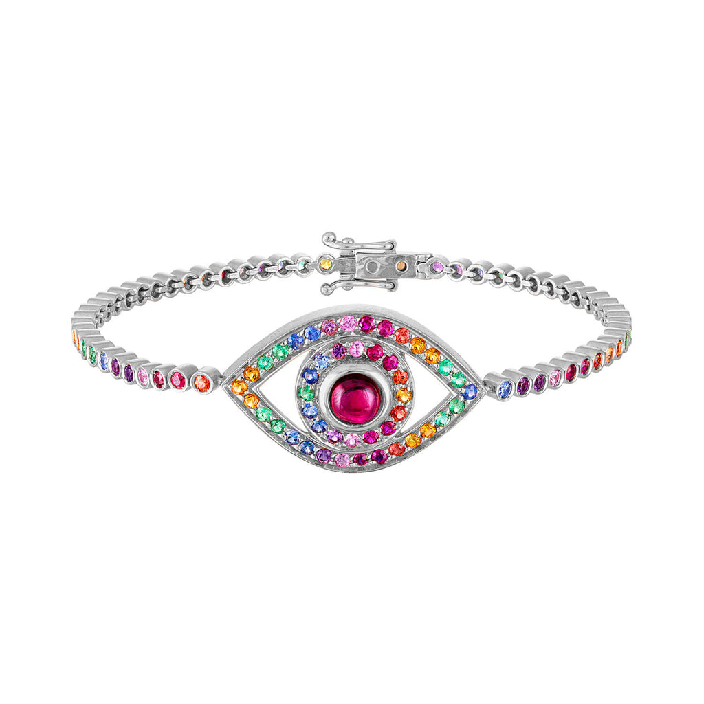 Rainbow Eye Tennis Bracelet