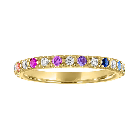 Alternating Diamond and Rainbow Eternity Band