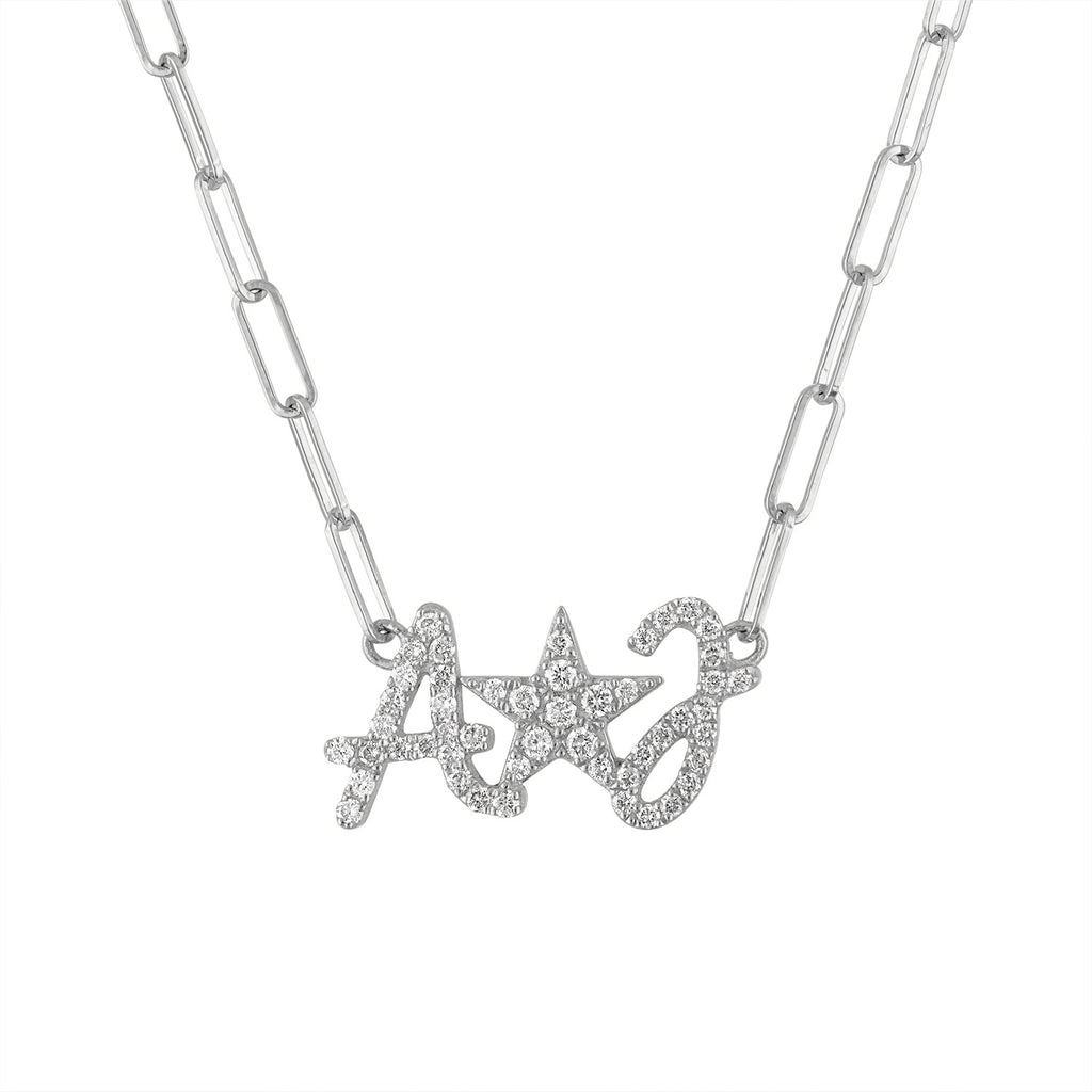 Jumbo Script Initial and Star Necklace