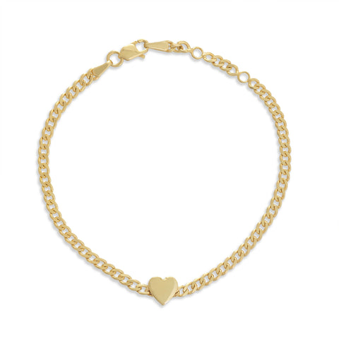 Curb Chain 3D Heart Bracelet