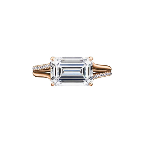 2.71 Carat East-West Emerald Cut Engagement Ring with Rose Gold Split Shank